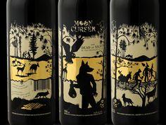 Moon Curser wine label design by Brandever. Print with precious metal gold by Universal Packaging. #bottledesign #packaging #screenprinting