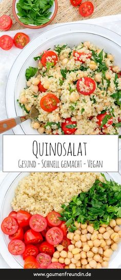 Quinoa salad with chickpeas, tomatoes, parsley and lime dressing - -You can find Quinoa and more on our website.Quinoa salad with chickpeas, tomatoes, parsley and lime d. Raw Food Recipes, Salad Recipes, Vegetarian Recipes, Healthy Recipes, Dinner Recipes, Beef Recipes, Easy Recipes, Chicken Recipes, Avocado Recipes