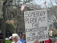 I think we all know who this one's meant for. But if this person wants to be taken seriously, it would help to correctly spell teleprompter.
