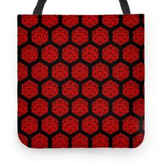 D20 Tote (Red Dice) #geek #dungeons #dragons #d&d #gaming #nerdy #dice #d20