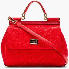 DOLCE & GABBANA Red Lace & Leather Miss Sicily Taormina Bag found on Polyvore