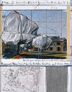 "Christo Wrapped Trees (Project for the Fondation Beyeler and Berower Park) Collage 1998 14 x 11"" (35.5 x 28 cm) Pencil, enamel paint, photograph by Wolfgang Volz, wax crayon, topographic map, fabric sample and tape"