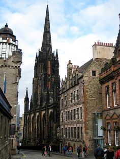 Down the Royal Mile, Edinburgh. I have a picture a lot like this---but at twilight.