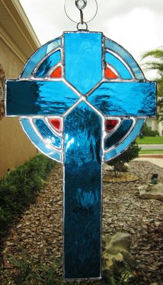 This beautiful Stained Glass Cross, Trinity Stained Glass Sun Catcher is so inspirational! Made with aqua, light aqua and red transparent