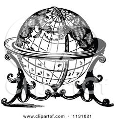 Clipart Of A Retro Vintage Black And White Globe On A Stand - Royalty Free Vector Illustration by Prawny Vintage