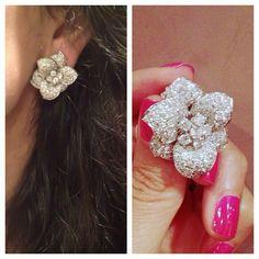 Real Diamond Earrings, Diamond Gemstone, Flower Earrings, Gemstone Earrings, Vine Design, Diamond Flower, Vintage Jewellery, Girly Things, Bling Bling