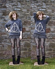 Deathly Hallows (by Charlotte Clothier) http://lookbook.nu/look/2159253-Deathly-Hallows