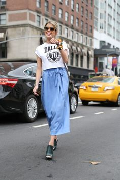 Helena Bordon in Jill Stuart skirt | NYFW