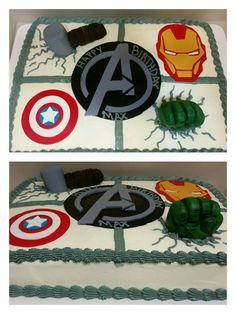 Avengers sheet cake with fondant decoration