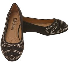 Fun to wear slip on flats just for your gal from Bella Marie. The black ballerina shoes come with sparkle rhinestone adornment. Lightweight comfort and a trendy design make these awesome shoes a great addition to her collection.