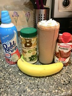 shake w a chocolate premier protein shake ice, 2 tbsp of ha. - shake w a chocolate premier protein shake ice, 2 tbsp of ha… shake w a chocolate premier protein shake ice, 2 tbsp of half a banana then topped with 4 tbsp of fat free Reddi Whip. Protein Smoothies, Healthy Protein Snacks, Protein Shake Recipes, Protein Foods, Smoothie Recipes, Pb2 Smoothie, Atkins Protein Shake, Healthy Meals, Protein Shake Diet