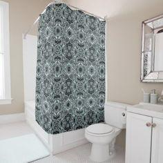 Pastel Sea Foam Green Gray Bali Batik Pattern Shower Curtain - stylish gifts unique cool diy customize