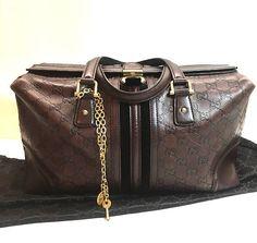 Authentic Gucci Guccissima Brown Boston Leather Tote Bag