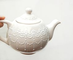 White lace teapot  hand painted by Dprintsclayful on Etsy, $58.00