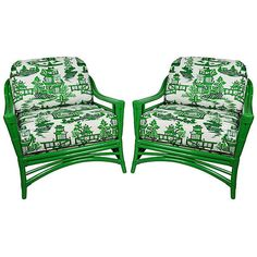 Pre-Owned Ficks Reed Green Schumacher Loungers ($3,599) ❤ liked on Polyvore featuring home, furniture, chairs, accent chairs, green club chair, wingback accent chair, wing back chairs, wingback chair and second hand chairs