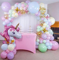 Rainbow Balloon Arch, Unicorn Balloon, Mermaid Balloons, Rainbow Unicorn, Blue Balloons, Girl Birthday Decorations, Balloon Decorations Party, Balloon Garland, Diy Garland
