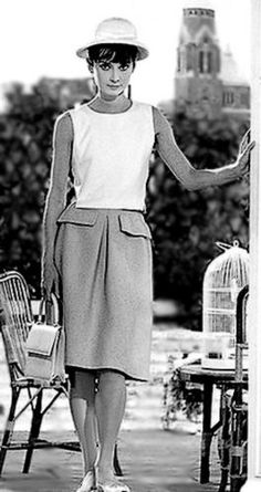 Audrey Hepburn wearing a casual Givenchy outfit. Photo taken at Hotel Du Cap, 1964