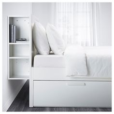 BRIMNES Bed frame w storage and headboard, white, Luröy, Queen. A bed frame with hidden storage in several places – perfect if you live in a small space. The BRIMNES series has several smart solutions that help you save space. Lit Ikea Brimnes, Brimnes Bed, White Headboard, King Headboard, Storage Headboard, Bedroom Storage, Ikea Storage Bed, Storage Bed Queen, Shoe Storage