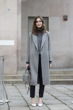 gray wool coat + dark gray sweater + gray purse + black pinstripe pants + white heels