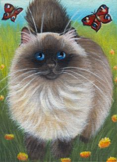 Today's painting...: spring..., cats..., in acrylics...