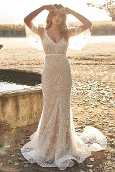 Chic White Sexy V Neck Botanical Lace Wedding Party Dress, Shop for cheap Chic White Sexy V Neck Botanical Lace Wedding Party Dress online? Buy at Modeshe.com on sale! Civil Wedding Dresses, Stunning Wedding Dresses, Colored Wedding Dresses, Best Wedding Dresses, Boho Wedding Dress, Gold Wedding, Dream Wedding, Peacock Wedding, Wedding Rustic