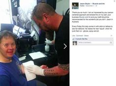"This is the sweetest thing ever... Lady with Down syndrome comes in every Friday so this artist can give her a ""tattoo""."