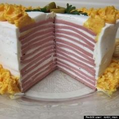 """Bologna Cake: """"good quality"""" sliced bologna, cream cheese, dry ranch salad dressing mix, and 1 can aerosol cheese, sharp cheddar flavor. I hope to god I never encounter a dish that contains can aerosol cheese."""" Don't forget the Ritz! Retro Recipes, Vintage Recipes, Vintage Food, Retro Food, Weird Vintage, Vintage Cooking, Sandwiches, Bologna Cake, Bologna Food"""