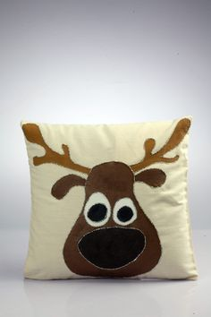Reindeer cushion cover    Materials  Fevicryl acrylic color burnt sienna-01, Golden yellow-09,Black 02,white-27  Fevicryl hobbyideas 3D outliner glitter silver- 402.    Method:   - Draw a pencil sketch of a Reindeer face on a ready pillow cover.  - Color the face with Burnt sienna, eyes with black & white, nose with a mixture of burnt sienna & black, horns with a mixture of burnt sienna and golden yellow. Let it dry.  - Outline the Reindeer with 3D silver glitter for the final finish. Let it…