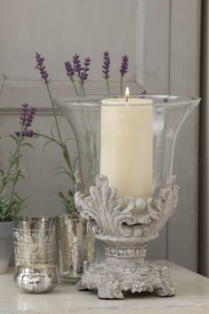 Lavender Cottage: and candles. French Decor, French Country Decorating, Candle Lanterns, Pillar Candles, Hurricane Candle, Chandelier Bougie, Shabby Chic Stil, Lavender Cottage, Vibeke Design