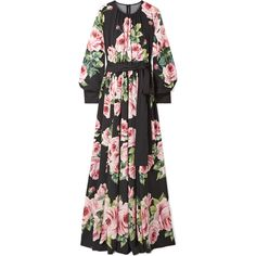 Dolce & Gabbana Floral-print silk-blend charmeuse gown (€4.235) ❤ liked on Polyvore featuring dresses, gowns, black, flower print dress, floral gown, dolce gabbana gown, floral evening gown and multi coloured dress