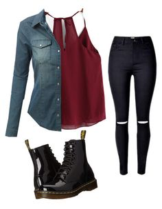"""Untitled #131"" by suri-rodriugez on Polyvore featuring LE3NO and Dr. Martens"