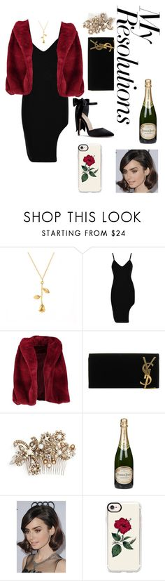 """#PolyPresents: New Year's Resolutions"" by angela-schug ❤ liked on Polyvore featuring Boohoo, Yves Saint Laurent, Erickson Beamon, Perrier-JouÃ«t, COS, Casetify, contestentry and polyPresents"