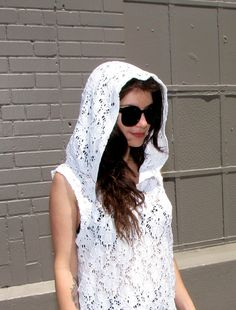 Handmade lace white shirt - hoodie lingerie - bridal - wedding - womens clothing - lace dress - upcycled clothing - sheer dress