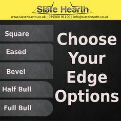 Slate hearth edge profile options