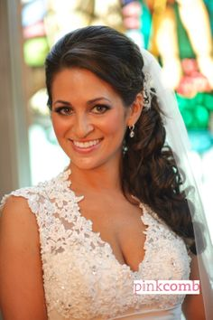 Wedding hair by Pink Comb Studio, on-site bridal services throughout tri-state area. Salon located in Westfield, NJ
