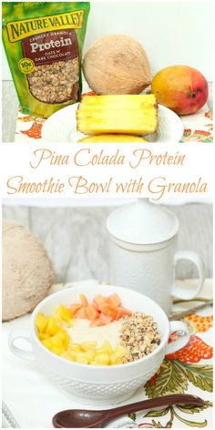 This is an amazing breakfast! Pina Colada Protein Smoothie Bowl with Granola  Low Calorie Low Fat Breakfast #NVGranola  #ad