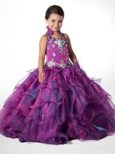2013 Halter Purple Unique  Layered Skirt Sugar Pageant Dress Gown Custom Flower Girl Dresses Size 6.8.10.12.14.16!11
