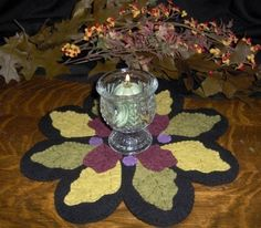 The Colors of Fall Penny Rug, Candle Mat, E Pattern, Wool Felt, Applique