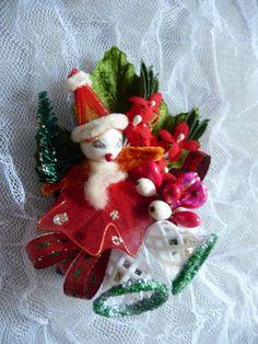 SALE Christmas Corsage Decoration Vintage Spun Cotton by meaicp
