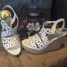 Host Pick White laser cut wedges Brand new, never worn. Laser cut straps with gold rivets. 4.5 inch wedge. Super comfortable. Ivanka Trump. Ivanka Trump Shoes Wedges