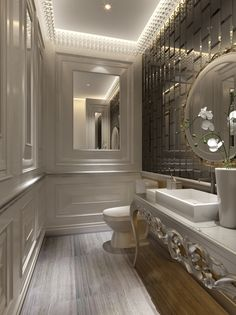 Gorgeous Bathroom, Victorian Rectangular White Vanity Table And Ceramic Vessel Sink, Brushed white wood floors. Chic Wall Mirror In modern Bathroom: 24 Exquisite Small Modern Bathrooms