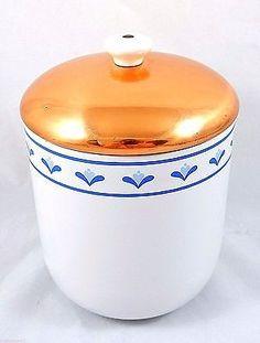 """White Ceramic Canister Copper Lid Cookie Jar Portugal Blue Floral Vintage 7.5"""""""