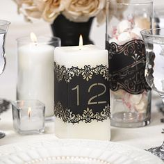 Black Laser Cut Table Number Wraps 11-20