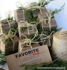 A Few of my Favorite Things Christmas Party - Lyrics printed on paper - Brown paper packages, tied up with string for invites - Simple Details