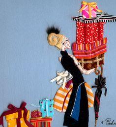 A artista Paula Sanz Caballero cria suas ilustrações de uma forma diferente, com tecidos e linhas. Impressionantemente belo! (visto no blog Binóculo,