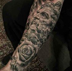 Zeus Roses Tattoo Arm - http://tattootodesign.com/zeus-roses-tattoo-arm/   #Tattoo, #Tattooed, #Tattoos