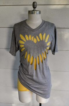Heart Cut-out Shirt, DIY. I want to make one of these with the deathly hallows symbol...