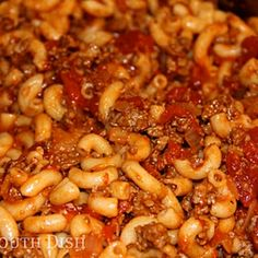 Basic Ground Beef American Goulash.  The high school cafeteria ladies called this stroganoff for some unknown reason -- but it was great!