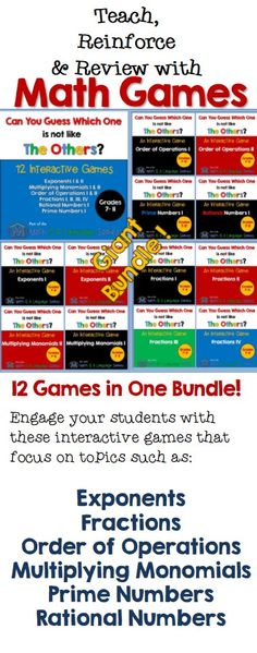 A huge bundle of math games in the Can You Guess Which One series.