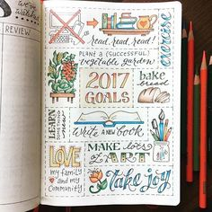Bullet journal inspiration 2017 goals doodles.